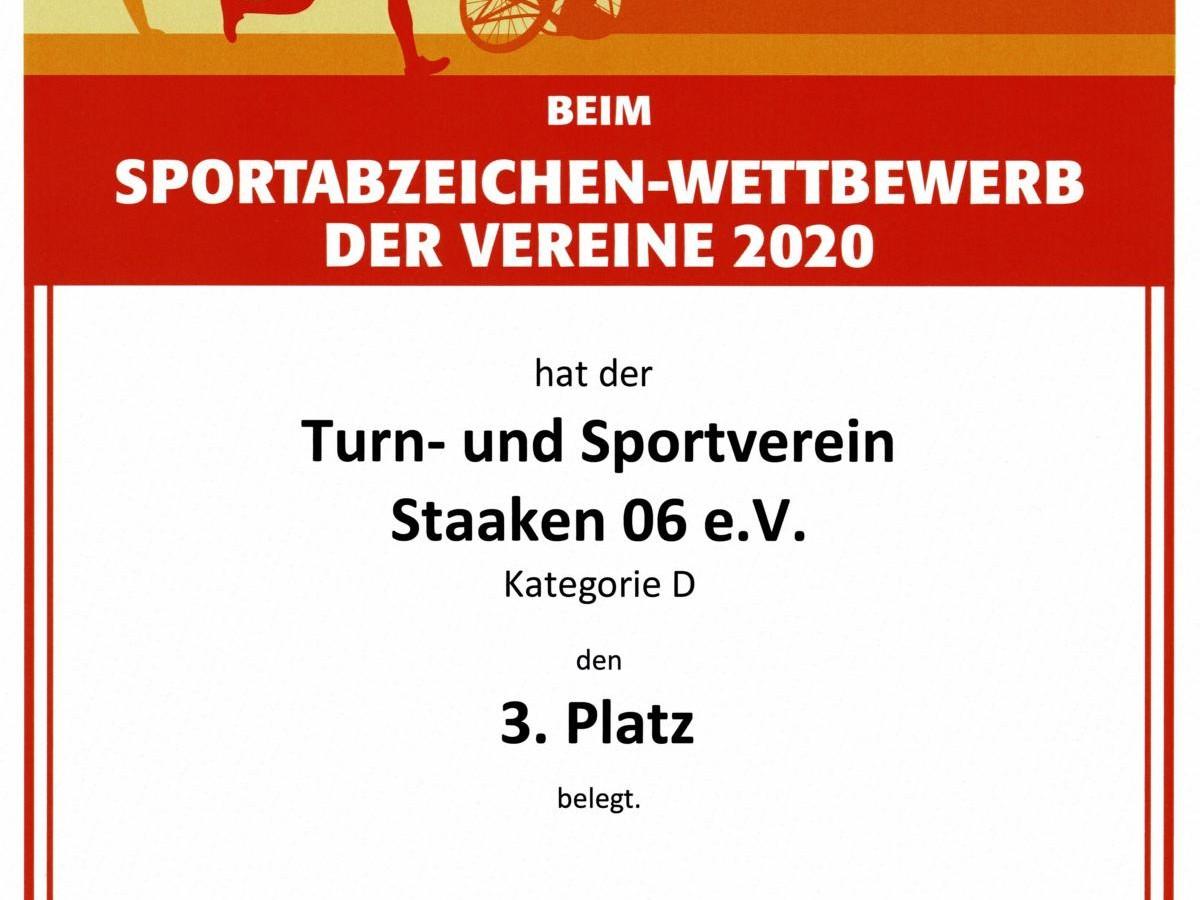 DSA Vereinswettbewerb 2020 Gruppe D Urkunde