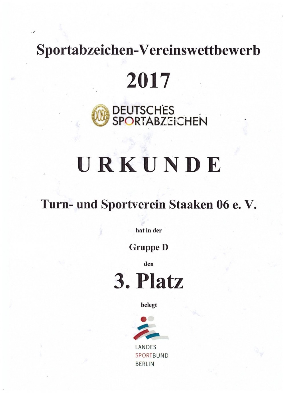 Sportabzeichen-Vereinswettbewerb 2017