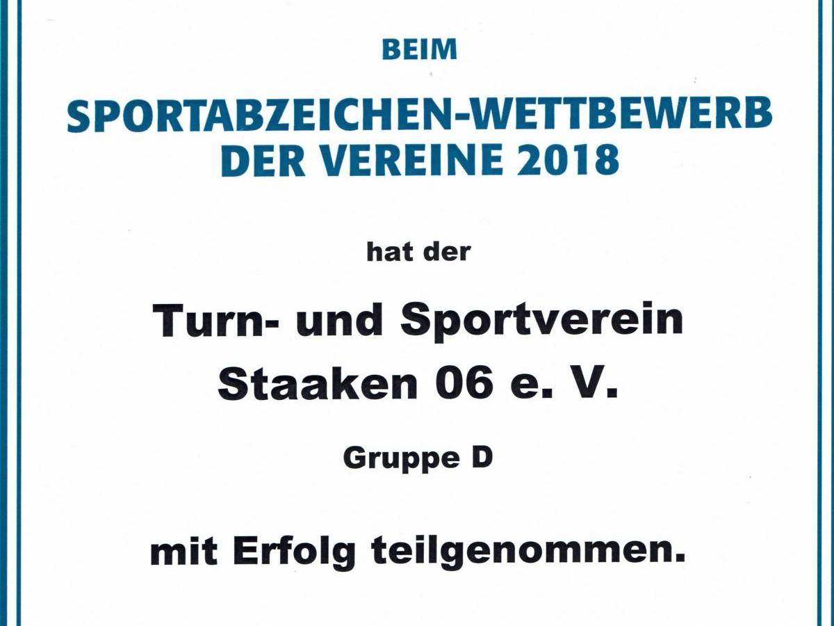 DSA LSB Vereinswettbewerb Urkunde 2018